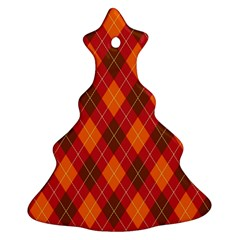 Argyle Pattern Background Wallpaper In Brown Orange And Red Christmas Tree Ornament (two Sides) by Simbadda