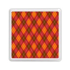 Argyle Pattern Background Wallpaper In Brown Orange And Red Memory Card Reader (square)  by Simbadda