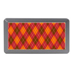 Argyle Pattern Background Wallpaper In Brown Orange And Red Memory Card Reader (mini) by Simbadda