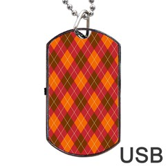Argyle Pattern Background Wallpaper In Brown Orange And Red Dog Tag Usb Flash (two Sides) by Simbadda