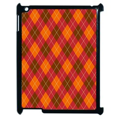 Argyle Pattern Background Wallpaper In Brown Orange And Red Apple Ipad 2 Case (black) by Simbadda