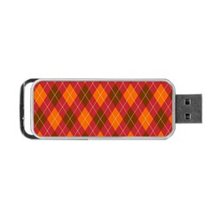 Argyle Pattern Background Wallpaper In Brown Orange And Red Portable Usb Flash (two Sides) by Simbadda