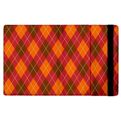 Argyle Pattern Background Wallpaper In Brown Orange And Red Apple Ipad 2 Flip Case by Simbadda