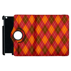 Argyle Pattern Background Wallpaper In Brown Orange And Red Apple Ipad 3/4 Flip 360 Case by Simbadda