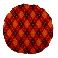Argyle Pattern Background Wallpaper In Brown Orange And Red Large 18  Premium Round Cushions by Simbadda