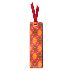 Argyle Pattern Background Wallpaper In Brown Orange And Red Small Book Marks by Simbadda