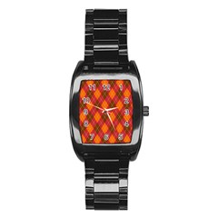 Argyle Pattern Background Wallpaper In Brown Orange And Red Stainless Steel Barrel Watch by Simbadda