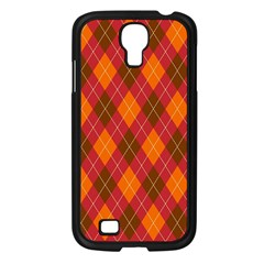 Argyle Pattern Background Wallpaper In Brown Orange And Red Samsung Galaxy S4 I9500/ I9505 Case (black) by Simbadda