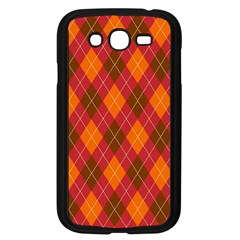 Argyle Pattern Background Wallpaper In Brown Orange And Red Samsung Galaxy Grand Duos I9082 Case (black) by Simbadda