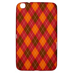 Argyle Pattern Background Wallpaper In Brown Orange And Red Samsung Galaxy Tab 3 (8 ) T3100 Hardshell Case  by Simbadda
