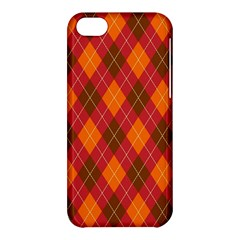 Argyle Pattern Background Wallpaper In Brown Orange And Red Apple Iphone 5c Hardshell Case by Simbadda