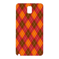 Argyle Pattern Background Wallpaper In Brown Orange And Red Samsung Galaxy Note 3 N9005 Hardshell Back Case by Simbadda