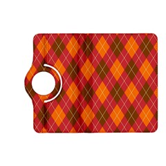 Argyle Pattern Background Wallpaper In Brown Orange And Red Kindle Fire Hd (2013) Flip 360 Case by Simbadda