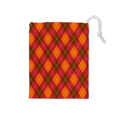 Argyle Pattern Background Wallpaper In Brown Orange And Red Drawstring Pouches (medium)  by Simbadda