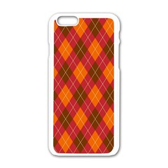 Argyle Pattern Background Wallpaper In Brown Orange And Red Apple Iphone 6/6s White Enamel Case by Simbadda
