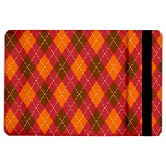 Argyle Pattern Background Wallpaper In Brown Orange And Red Ipad Air 2 Flip by Simbadda