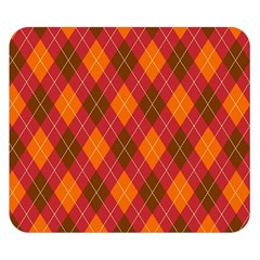 Argyle Pattern Background Wallpaper In Brown Orange And Red Double Sided Flano Blanket (small)  by Simbadda