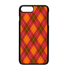 Argyle Pattern Background Wallpaper In Brown Orange And Red Apple Iphone 7 Plus Seamless Case (black) by Simbadda