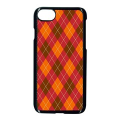 Argyle Pattern Background Wallpaper In Brown Orange And Red Apple Iphone 7 Seamless Case (black) by Simbadda