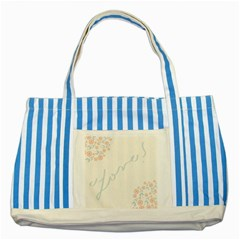 Love Card Flowers Striped Blue Tote Bag by Simbadda
