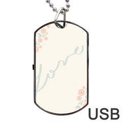 Love Card Flowers Dog Tag Usb Flash (one Side) by Simbadda