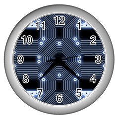 A Completely Seamless Tile Able Techy Circuit Background Wall Clocks (silver)  by Simbadda