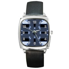 A Completely Seamless Tile Able Techy Circuit Background Square Metal Watch by Simbadda