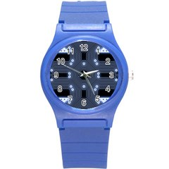 A Completely Seamless Tile Able Techy Circuit Background Round Plastic Sport Watch (s) by Simbadda