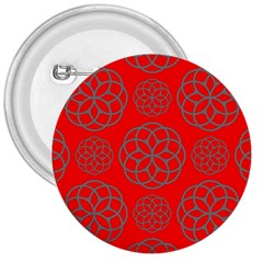 Geometric Circles Seamless Pattern On Red Background 3  Buttons by Simbadda