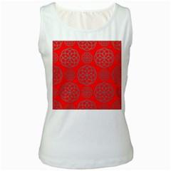 Geometric Circles Seamless Pattern On Red Background Women s White Tank Top by Simbadda