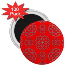 Geometric Circles Seamless Pattern On Red Background 2 25  Magnets (100 Pack)  by Simbadda