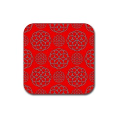 Geometric Circles Seamless Pattern On Red Background Rubber Square Coaster (4 Pack)  by Simbadda