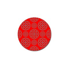 Geometric Circles Seamless Pattern On Red Background Golf Ball Marker (4 Pack) by Simbadda