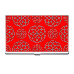Geometric Circles Seamless Pattern On Red Background Business Card Holders by Simbadda