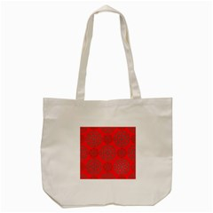 Geometric Circles Seamless Pattern On Red Background Tote Bag (cream) by Simbadda