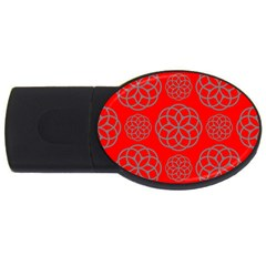 Geometric Circles Seamless Pattern On Red Background Usb Flash Drive Oval (4 Gb) by Simbadda