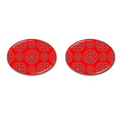Geometric Circles Seamless Pattern On Red Background Cufflinks (oval) by Simbadda