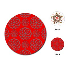 Geometric Circles Seamless Pattern On Red Background Playing Cards (round)  by Simbadda
