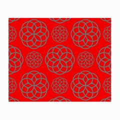 Geometric Circles Seamless Pattern On Red Background Small Glasses Cloth (2 Side) by Simbadda