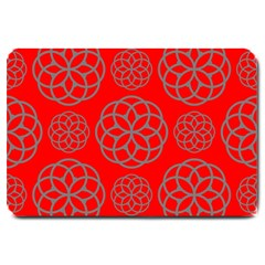 Geometric Circles Seamless Pattern On Red Background Large Doormat  by Simbadda