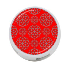 Geometric Circles Seamless Pattern On Red Background 4 Port Usb Hub (one Side) by Simbadda