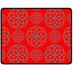 Geometric Circles Seamless Pattern On Red Background Fleece Blanket (medium)  by Simbadda