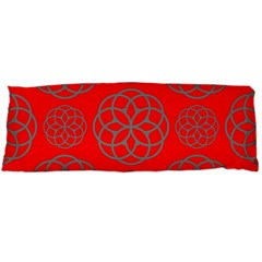 Geometric Circles Seamless Pattern On Red Background Body Pillow Case (Dakimakura)