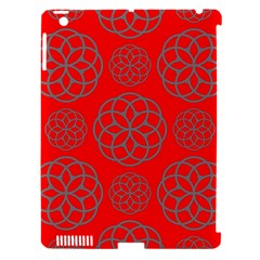 Geometric Circles Seamless Pattern On Red Background Apple Ipad 3/4 Hardshell Case (compatible With Smart Cover) by Simbadda