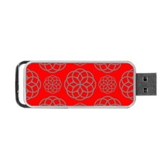 Geometric Circles Seamless Pattern On Red Background Portable Usb Flash (two Sides) by Simbadda