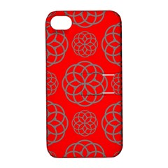 Geometric Circles Seamless Pattern On Red Background Apple Iphone 4/4s Hardshell Case With Stand by Simbadda
