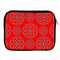 Geometric Circles Seamless Pattern On Red Background Apple Ipad 2/3/4 Zipper Cases by Simbadda