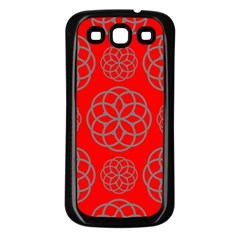 Geometric Circles Seamless Pattern On Red Background Samsung Galaxy S3 Back Case (black) by Simbadda