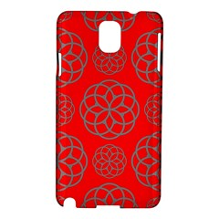 Geometric Circles Seamless Pattern On Red Background Samsung Galaxy Note 3 N9005 Hardshell Case by Simbadda