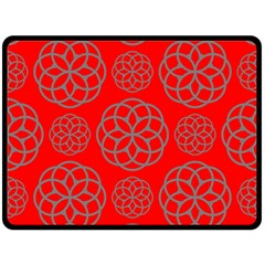 Geometric Circles Seamless Pattern On Red Background Double Sided Fleece Blanket (large)  by Simbadda